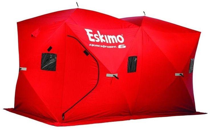 Eskimo ICE FISHING SHELTER TENT Portable 6 plus person capacity 80 x 140 Red #Eskimo