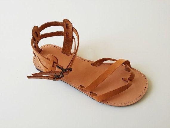 Femmes en cuir sandale-grec à la main l'été Flats-Gladiator