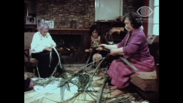 The traditional materials and methods used in Māori weaving. Rangimarie Hetet and her daughter, Rangituatahi Te Kanawa, talk to Tilly Reedy and demonstrate their skills as they gather and prepare harakeke for work on piupiu, korowai and taniko border.  Other women are instructed in the weaver's craft. Rangimarie and Rangituatahi discuss the innovations and changes which have influenced their art.   Made for tv.