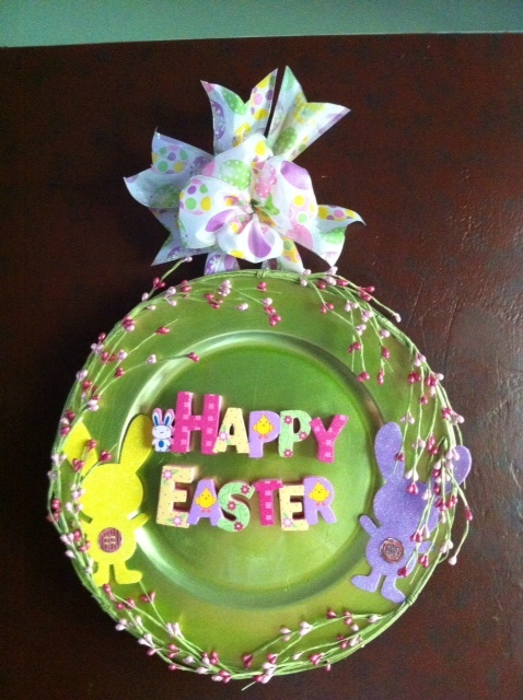 Easter door decoration made from a plate I purchased at Michael's for a dollar.