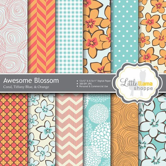 Floral Digital Scrapbook Paper Pack Coral and by LittleLlamaShoppe $3