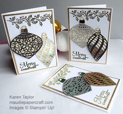 Stampin' Up! Delicate Ornaments Christmas cards
