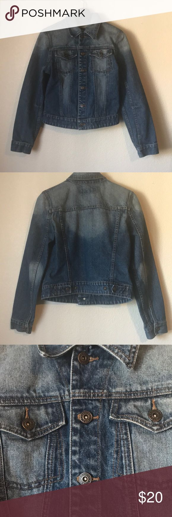 Express Men's short Jean jacket Express mens short Jean jacket. Size Medium. 18 inches across chest, 21 inches long. Excellent condition.  ** NO modeling or trades** Express Jackets & Coats