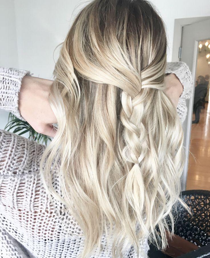 Balayage, blonde, beach waves, braid, rooty blonde, hair color @hairbyjamielvb_