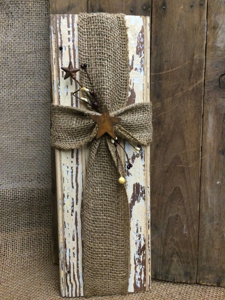 Rustic wood burlap cross wall decor by MazzieGraceDesigns on Etsy