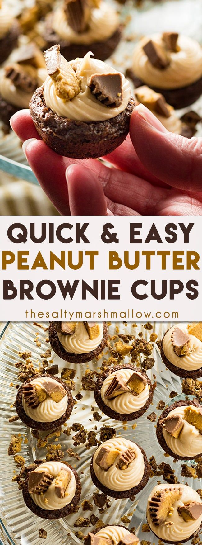 Peanut Butter Brownie Cups - These bite sized brownie cups couldn't be easier to make or more fun to eat!  Brownie cups that are filled with a creamy peanut butter filling for a decadent, poppable treat that will please a crowd! #ad #creamernation #internationaldelight