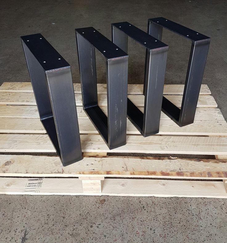 Bankgestell Rohstahl 80-20 Industrie Design 42-35 cm 1 Paar Tischbeine