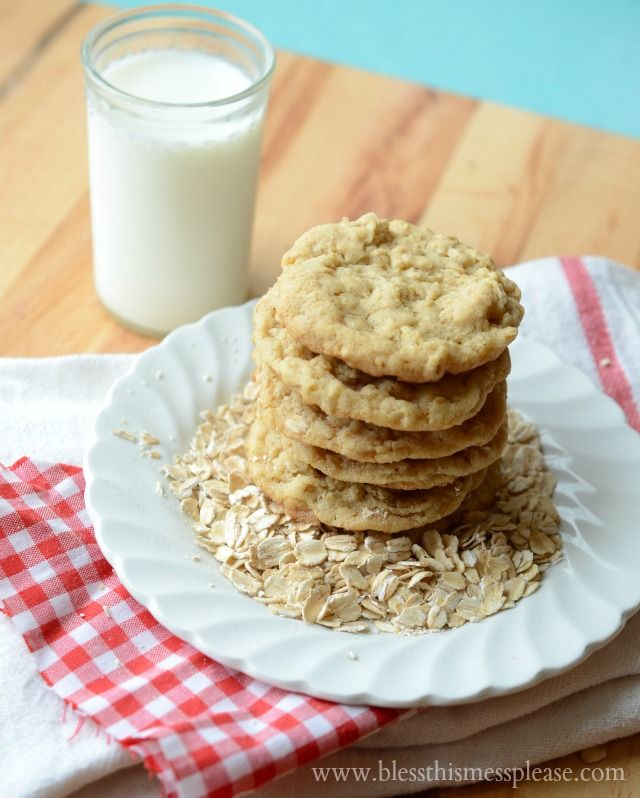 Simple Oatmeal Cookies at Lil Luna | Bless This Mess