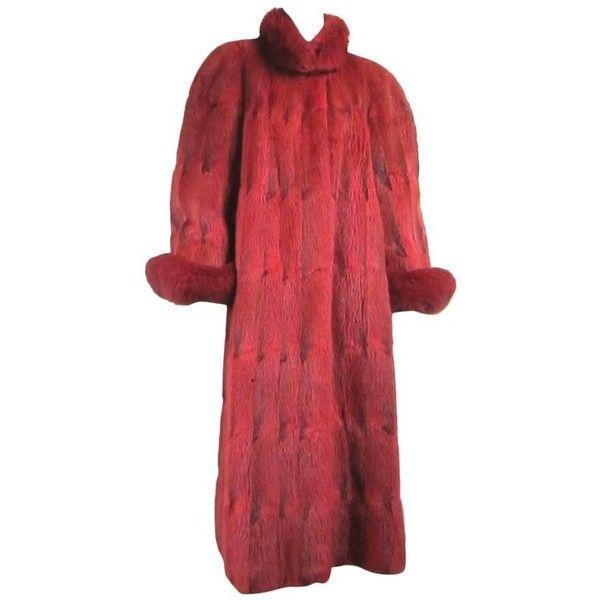 Preowned Oscar De La Renta Red Sheared Mink & Fox Full Length Coat ($6,500) ❤ liked on Polyvore featuring outerwear, coats, red, mink coat, full length mink fur coat, red coat, mink fur coat and full length mink coat