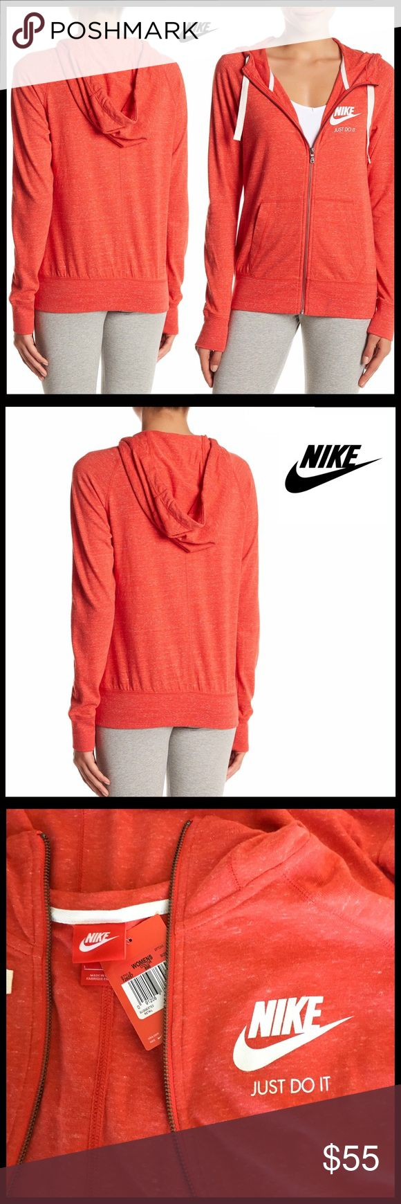 "⭐️⭐️ NIKE ZIP HOODIE GYM JACKET NIKE ZIP HOODIE GYM JACKET   SIZING- S = 4-6, XL = 14-16  COLOR: Coral-Red   ABOUT THIS ITEM * Attached drawstring hood * Soft & cozy, yet lightweight heathered knit construction * Approx 26"" long * Front zip closure * Long sleeves * Split kangaroo front pockets; Logo detail FABRIC Cotton, 40% polyester  ❌NO TRADES❌ ✅BUNDLE DISCOUNTS ✅ OFFERS CONSIDERED (Via the offer button only)   SEARCH # Nike Tops Sweatshirts & Hoodies"