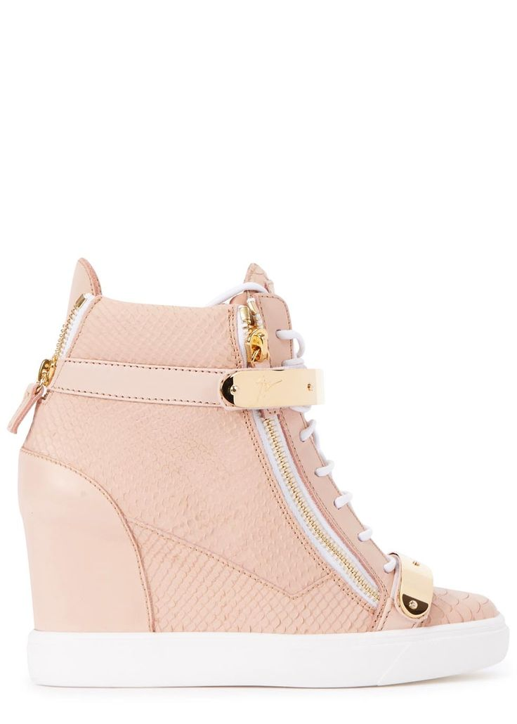 Giuseppe Zanotti rose leather hi-top trainers Concealed wedge heel measures approximately 3.5 inches/ 90mm  Snake effect, Velcro-fastening gold metal straps, zipped sides, rubber sole, round toe  Lace-up front