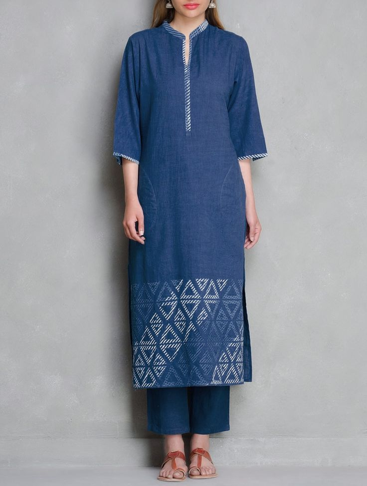 Buy Indigo Block Printed & Applique Detailed Cotton Kurta by Ruh Apparel Tunics Kurtas Online at Jaypore.com
