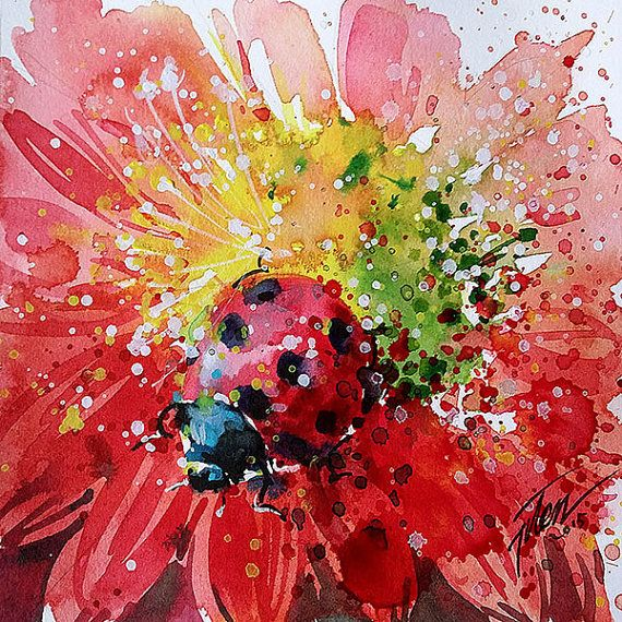 Beetle watercolour with gouache 6x666 series 15 by