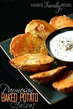 Parmesan Baked Potato Halves - a popular family #dinner #recipe
