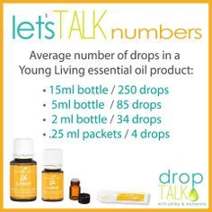 Number of drops in different size bottles of Young Living Essential Oils.  It goes a long way.  Thicker oils have less per bottle. 15 ml  250 5 ml 85 2 ml 34 sample packet 4 drops www.youngliving.com Sponsor and Enroller #1420357   http://yl.pe/fjq