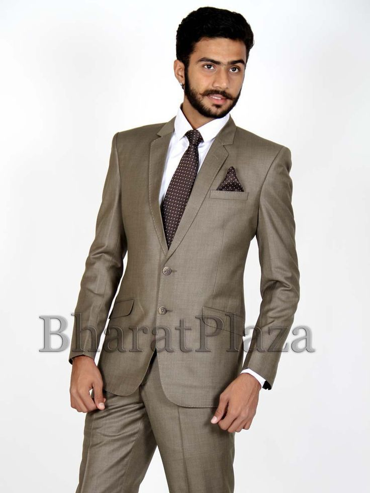 Luxurious dark beige color notch lapel #blazer fabricated on polyester with pocket flap. Item Code: TSP703A http://www.bharatplaza.com/new-arrivals/mens-suits.html