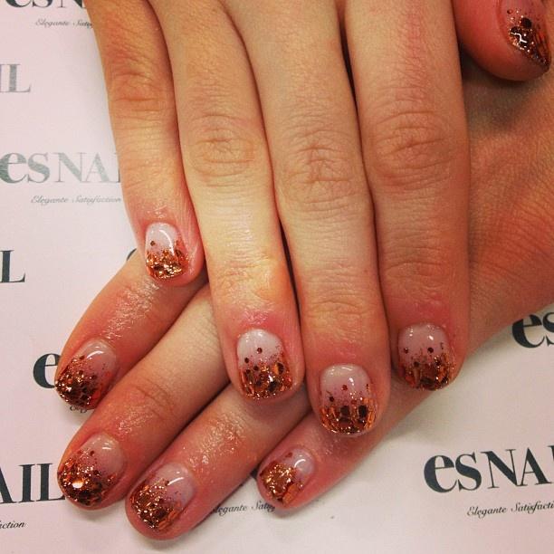 copper hologram gradation nails