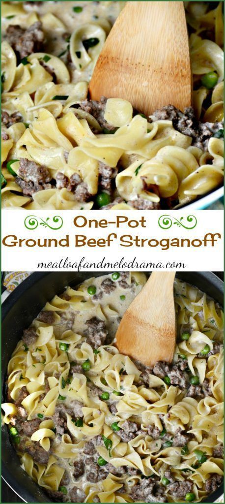 One pot ground beef stroganoff. This easy dinner recipe takes only 30 minutes to make and doesn't use canned soup but has tons of flavor -- easy clean up too!