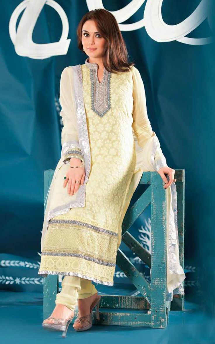 CREAM GEORGETTE EMBROIDERED SALWAR KAMEEZ - ZIN 9014