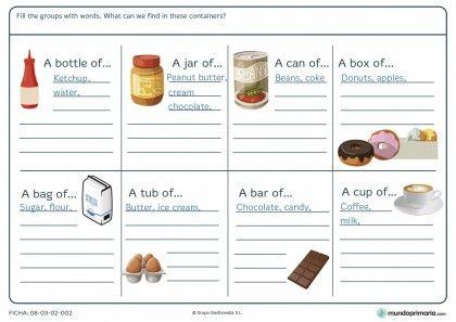 Ficha de alimentos envasados en inglés para niñños de 11 años