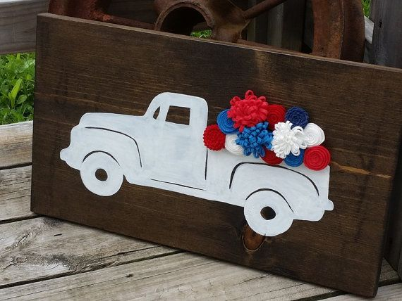America Sign  Fourth of July  Red White and Blue Decor Truck Sign Classic Truck by RusticLaneCreations