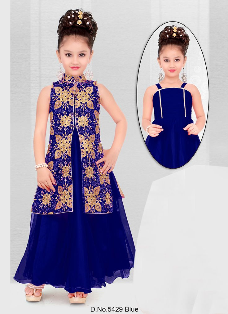 Wedding Wear Blue Net Embroidered WorkKids Wear Anarkali Suit