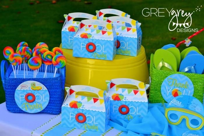 pool party centerpieces ideas | Summer Pool Party via Kara's Party Ideas Kara'sPartyIdeas.com #Summer ...