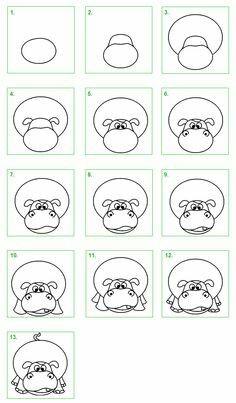 Nijlpaard tekenen