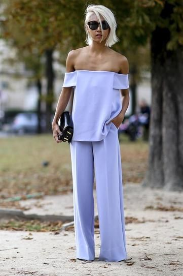 100 best dressed of 2014 - chic off the shoulder lilac ensemble with wide leg trousers