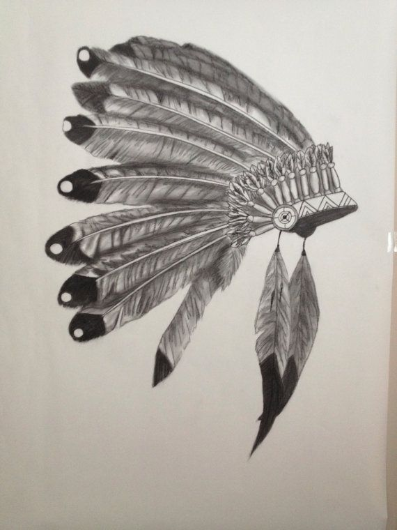 Charcoal on white paper Indian Headdress by LaBeautedeLArt on Etsy