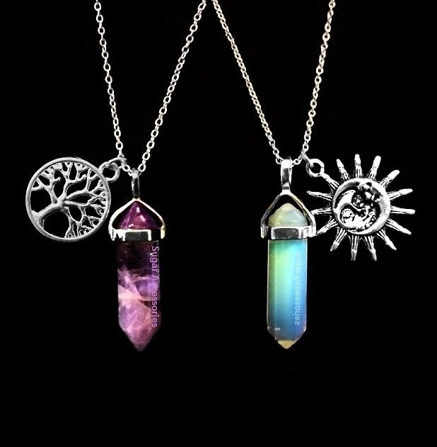 Crystal Point Quartz Necklace with optional free charm. $12.99