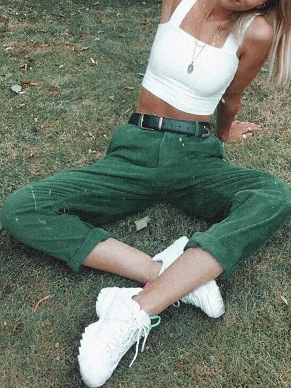 New Green Corduroy Pockets Buttons High Waisted Ca…