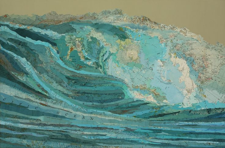 What a cool idea!--art out of maps....I am in LOVE with this!!!: Matthew Cusick, Collage Art, The Ocean, Mixed Media, Art Collage, Maps Collage, Sea, Paintings, The Waves