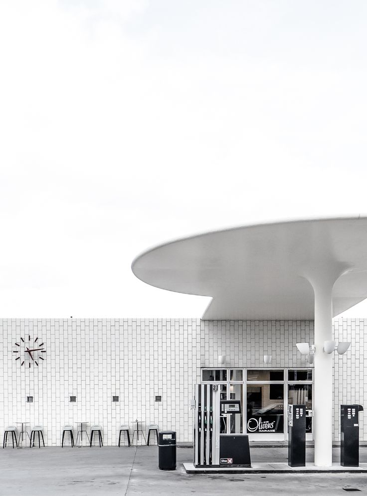 Arne Jacobsen designed gas station in Copenhagen, Denmark PHOTO BY Matthias von Aufschnaiter