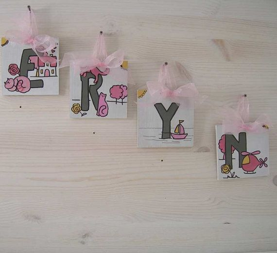 ERYN Wood MDF 4 Wooden Letters organza ribbon by bluepeppertime