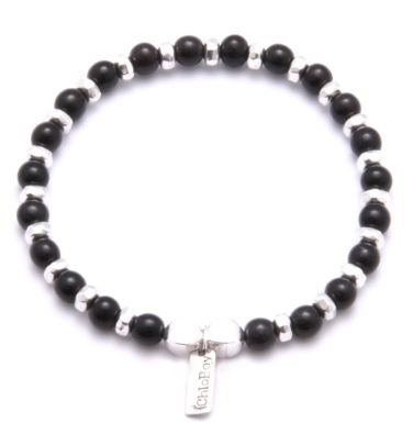 ChloBoy Mens Black Horn Silver Black Beaded Bracelet MBFSBBH. This stylish bracelet from the ChloBoy Mens Black Horn Collection is the perfect addition to any outfit. The bracelet is made of alternating Sterling Silver faceted beads and Black Horn beads.