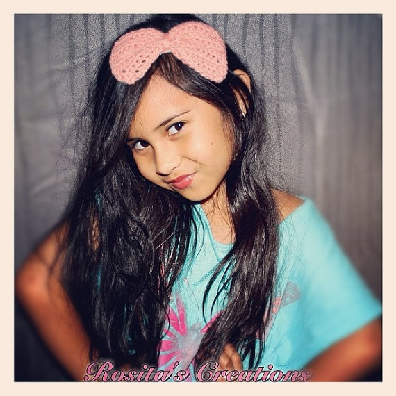 Big Bow in baby pink on metal headband by RositasCreations on Etsy, $10.00