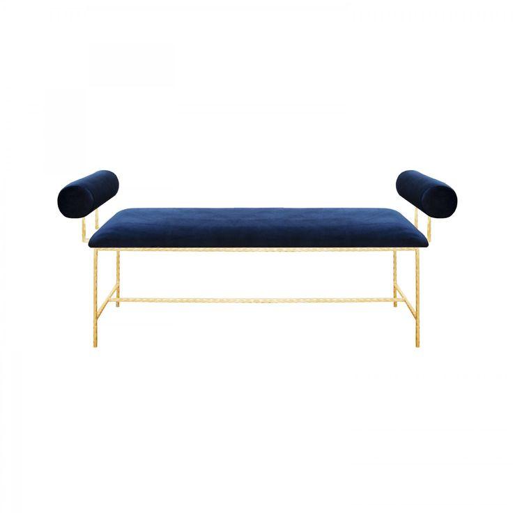 MILLER BOLSTER ARM GOLD LEAF BENCH IN NAVY VELVET - Benches and Stools - Seating    Regency Distribution