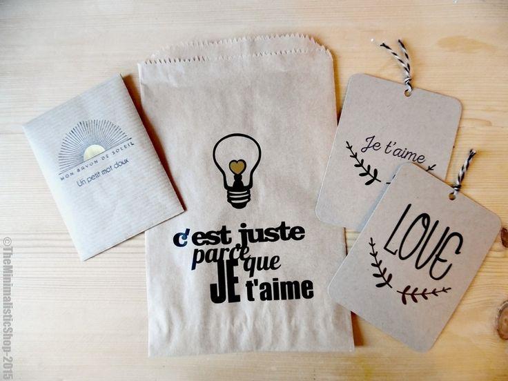 Kit de saint-Valentin dans son sachet Kraft : Emballages cadeaux par theminimalisticshop
