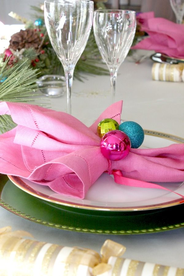 Holiday Place Setting Ideas with Mini Ornaments