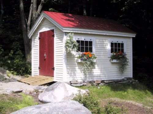 10x12 Gable Shed Example Shows Optional Autumn Red Metal
