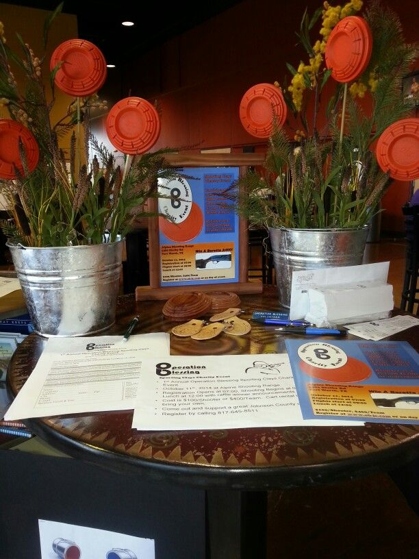 Sporting Clays Charity Event display table.