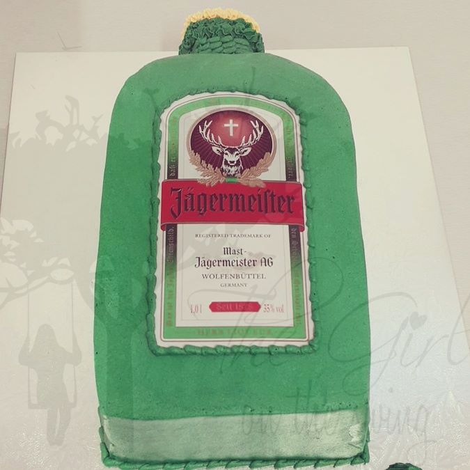 Jagermeister Bottle with Edible Image
