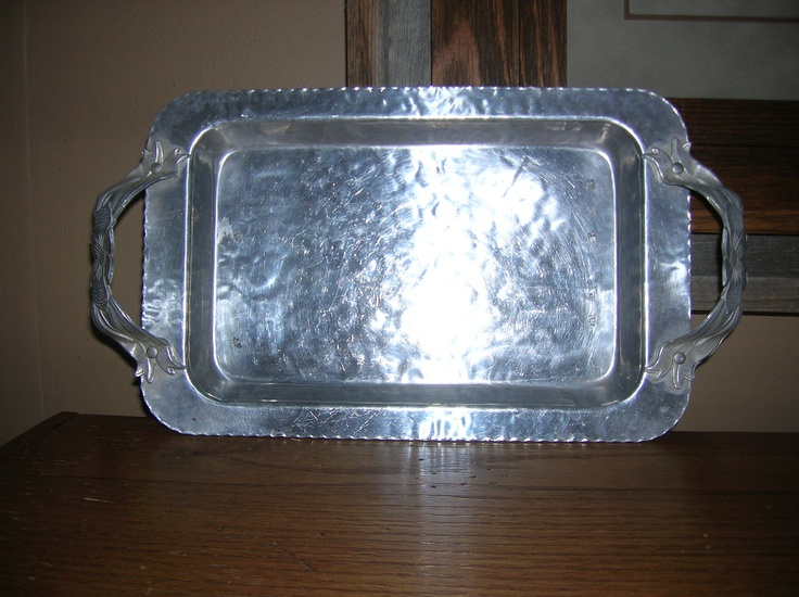 vintage aluminum trays vintage hammered aluminum rectangular tray with floral 3156