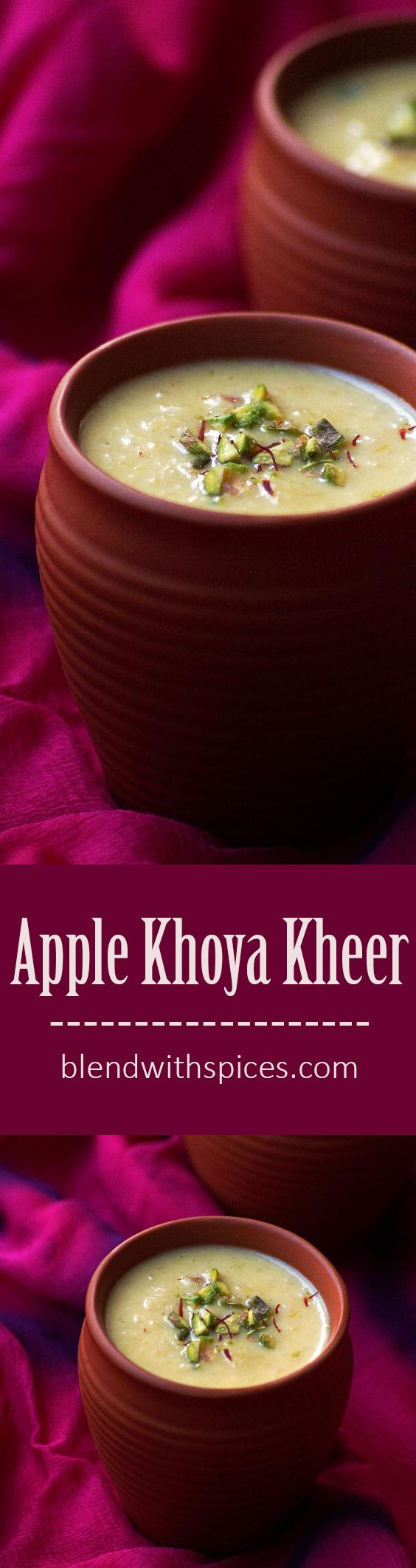 Apple Khoya Kheer Recipe - A super easy and quick Indian dessert made with apple, milk solids, saffron and  cardamom. Can be made in no time for any occasion. Holi Recipes - blendwithspices.com