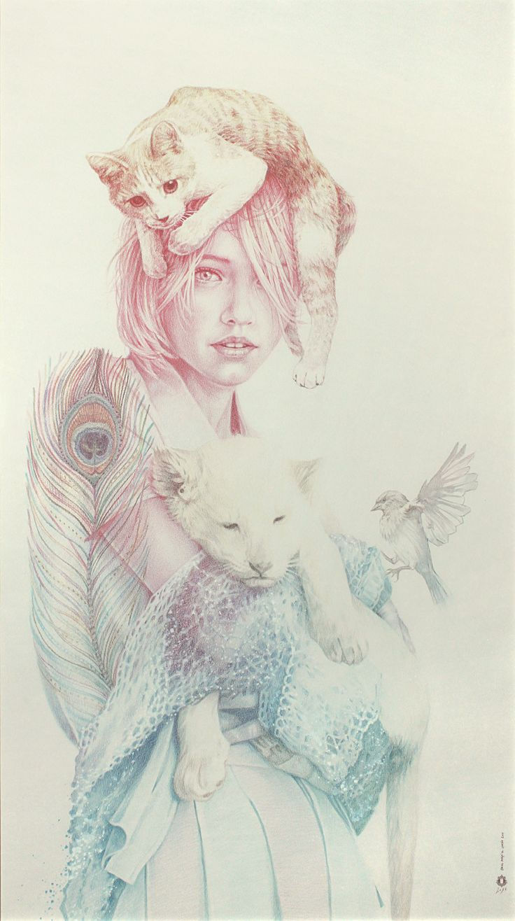 The girl, the cat, the lion, the bird by Oriol Angrill Jordà