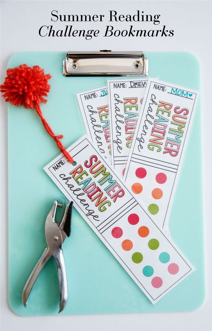 A fun way to encourage reading this summer - use these printable Summer Reading Challenge Bookmarks!
