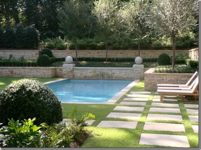 We wouldn't have a pool, but this is so pretty I couldn't resist and am loving the stone wall.