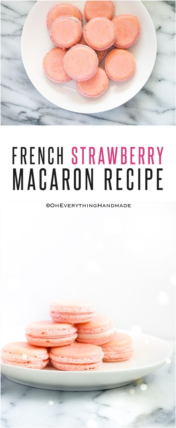 So today I'll be sharing an easy French Strawberry Macaron Recipe, which is made with a Strawberry Mascarpone filling. You can use strawberry jam or a puree.