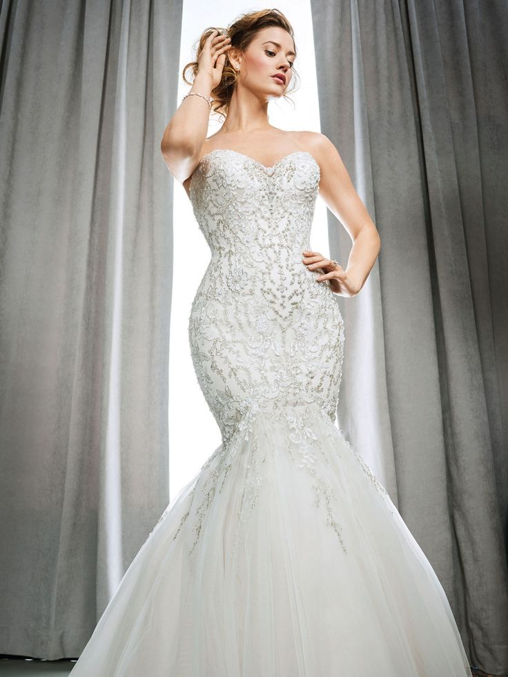 Kenneth Winston Style 1691 Trumpet Beaded Embroidery Wedding Dress With Sweetheart Neckline Luxurious